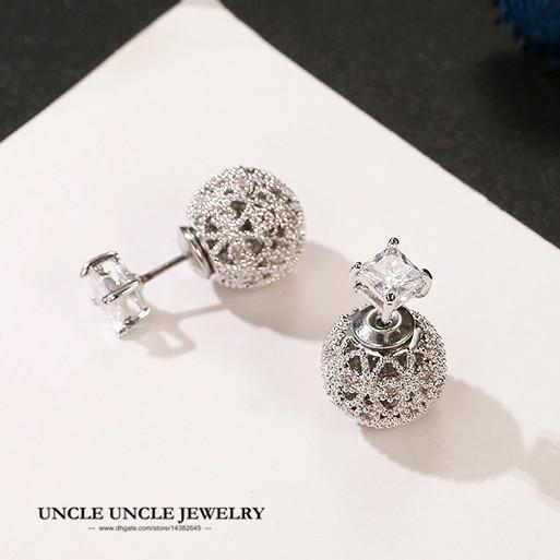 bc502b988e052a Brand Design Small Crystal Ball Earring White Gold Color 925 Sterling  Silver Needle Round Double Side Wear Stud Earrings Wholesale