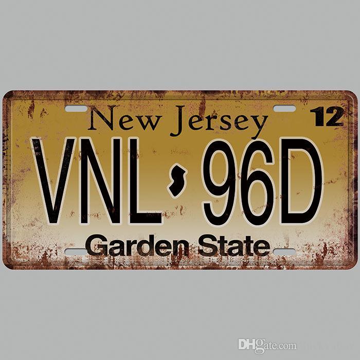New Jersey VNL 96D Garden State 3D Emboss Car Plates Number USA License Plate Garage Plaque Metal Tin Sign Bar Decoration Vintage Home Decor