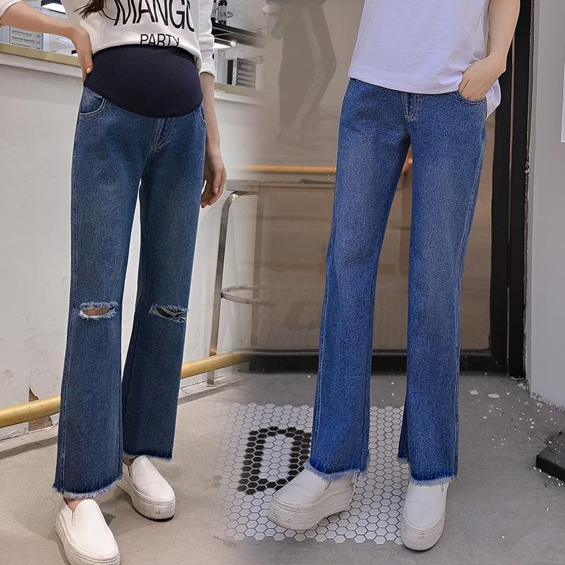 d01cb54bc Compre Primavera Otoño Moda Nuevos Agujeros De Maternidad Boot Cut Jeans Embarazo  Ropa Denim Overall Trousers Clothing For Pregnant Women A  28.14 Del ...