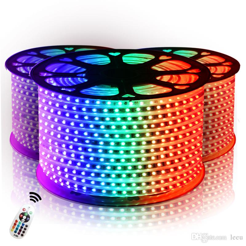 Tiras conduzidas 10 M 50 M 110 V / 220 V de Alta Tensão SMD 5050 RGB Tiras de Led Luzes À Prova D 'Água + IR Controle Remoto + fonte de alimentação