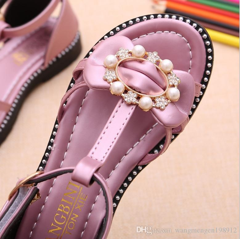 2018 Summer New Korean Girl Sandals Little Girl Pearl Princess Shoes Student Soft Non-slip Baby Shoes