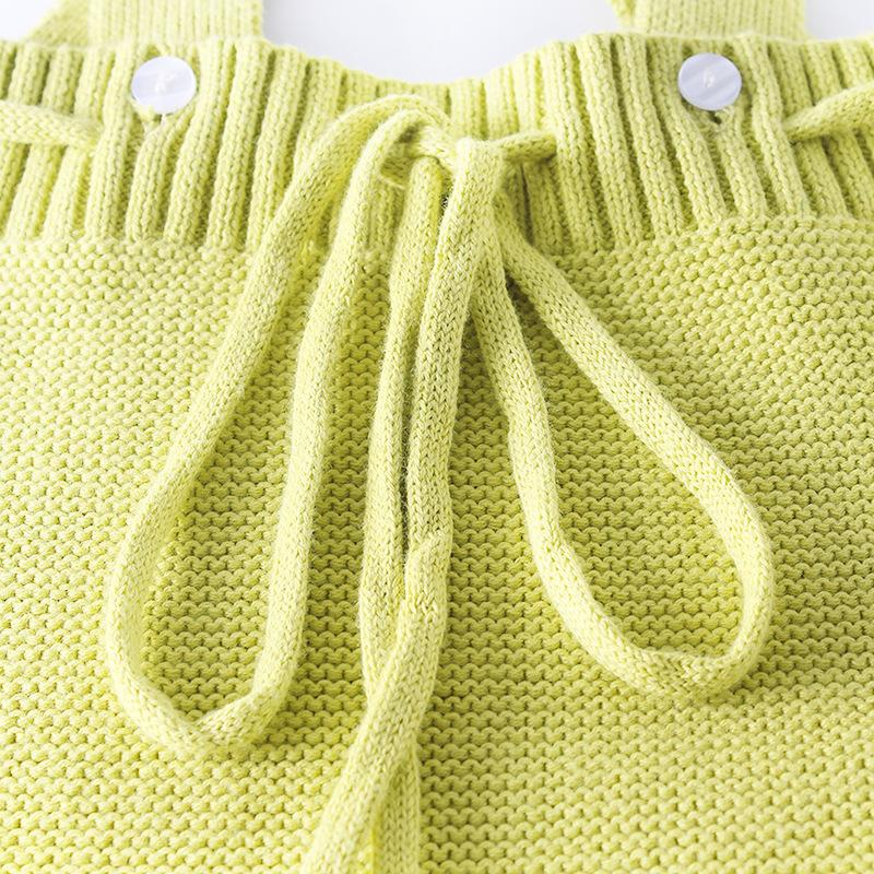 Spring/Autumn Cute Infant Sweaters Newborn Knitting Jumpsuits Baby Girl Clothing Bodysuits Strap Rompers For Kids Clothes