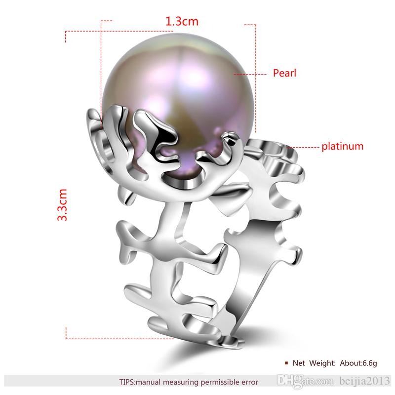 Personality Unique Trendy Ring White Gold 3D Fishbone Pearl Ring Women Female Crystal wedding rings Gift Fashion statement Jewelry