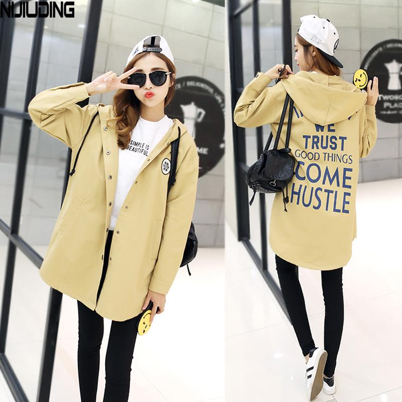 NIJIUDING New Autumn Women Print Letter Street Trench Coat Loose XS-2XL Design Hooded Overcoat Loose Fit