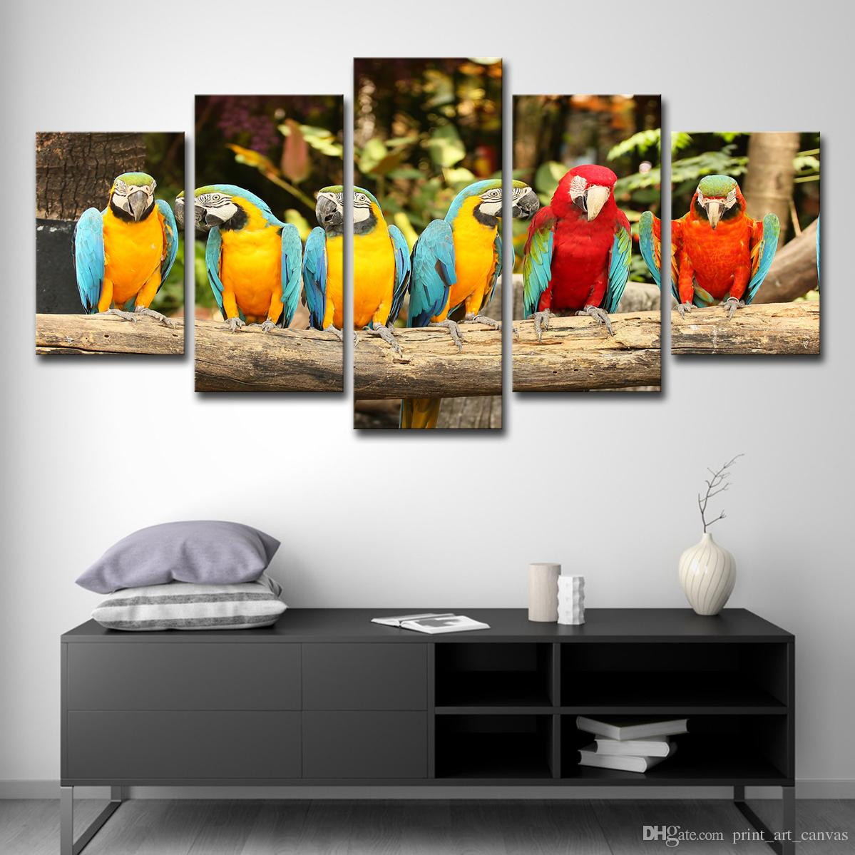 Canvas Paintings Wall Art Home Decor Living Room HD Printed 5 Pieces Parrot Group Poster Feather Colorful Birds Pictures