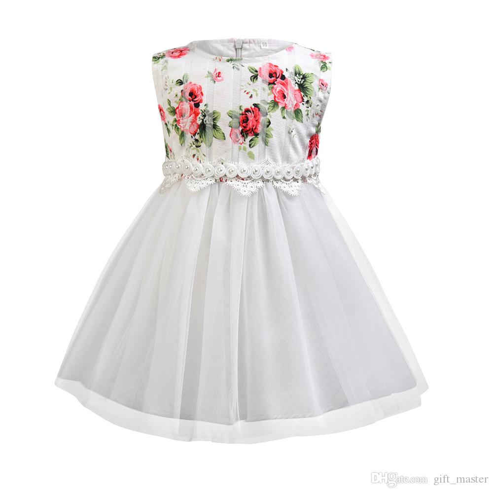 97e91860e 2019 Children White Flower Print Dresses Tulle Skirt Formal Wedding Beading  Floral Princess Sundress Kids Birthday Party Wear For Teenager Girls From  ...