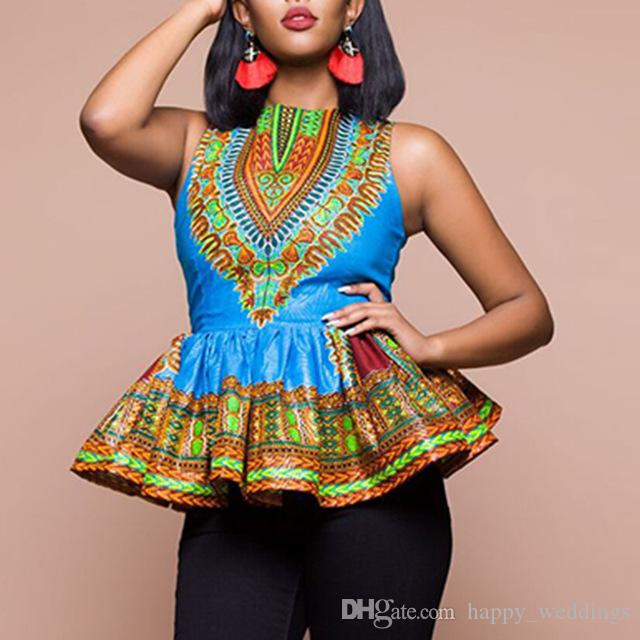8a6e2a8841 2019 Plus Size 3XL Ruffles Women Long Dashiki Fashion Design African  Traditional Print Blouse Shirt Blue Tunic Summer Sleeveless Tops From  Happy weddings