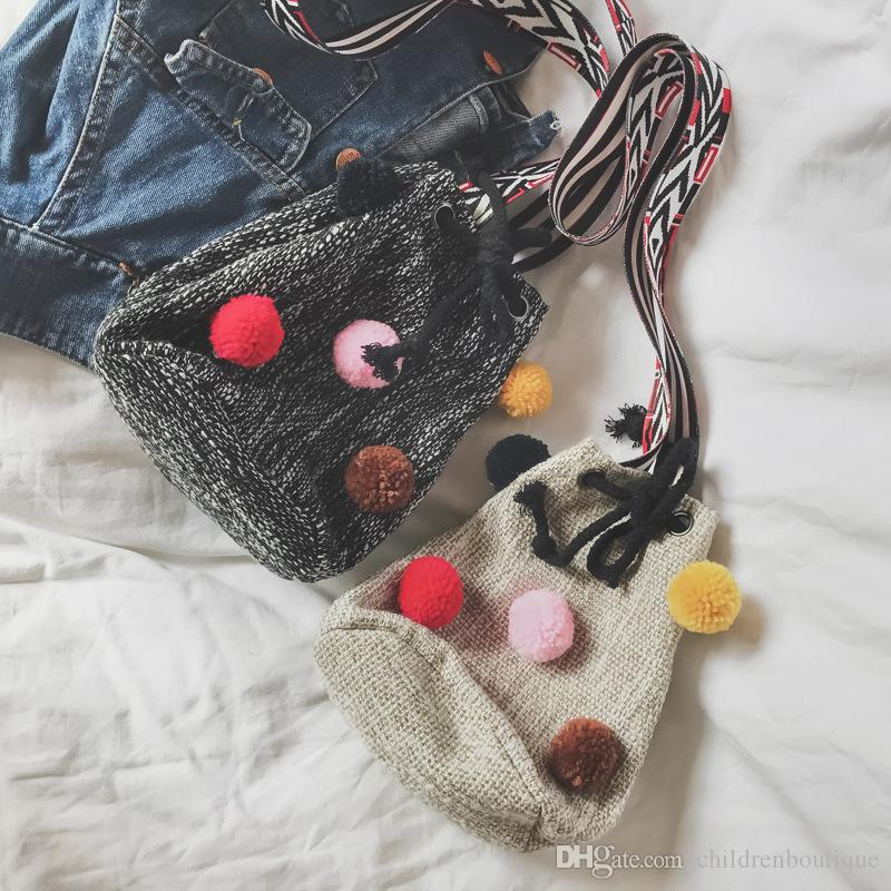 2018 Children Kids Girls Bags String Small Bucket Canvas Handbag Child Girls Cross Body Bag Phone Straw Purse Designer High Quality