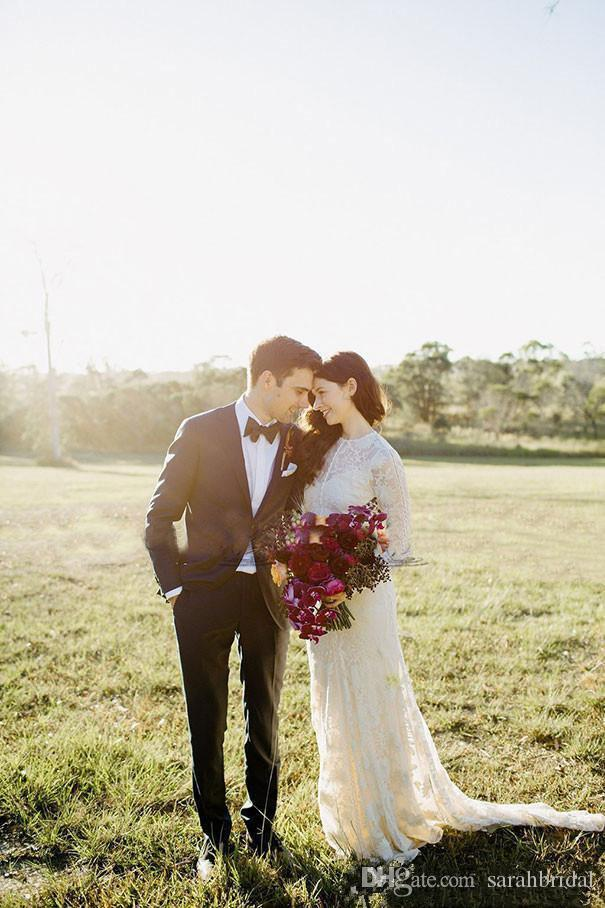 Vintage Lace Bohemian Country Long Sleeve Wedding Dresses 2019 Muslim rom milla nova Sheer Neck vestido de novia Wedding Bridal Gown
