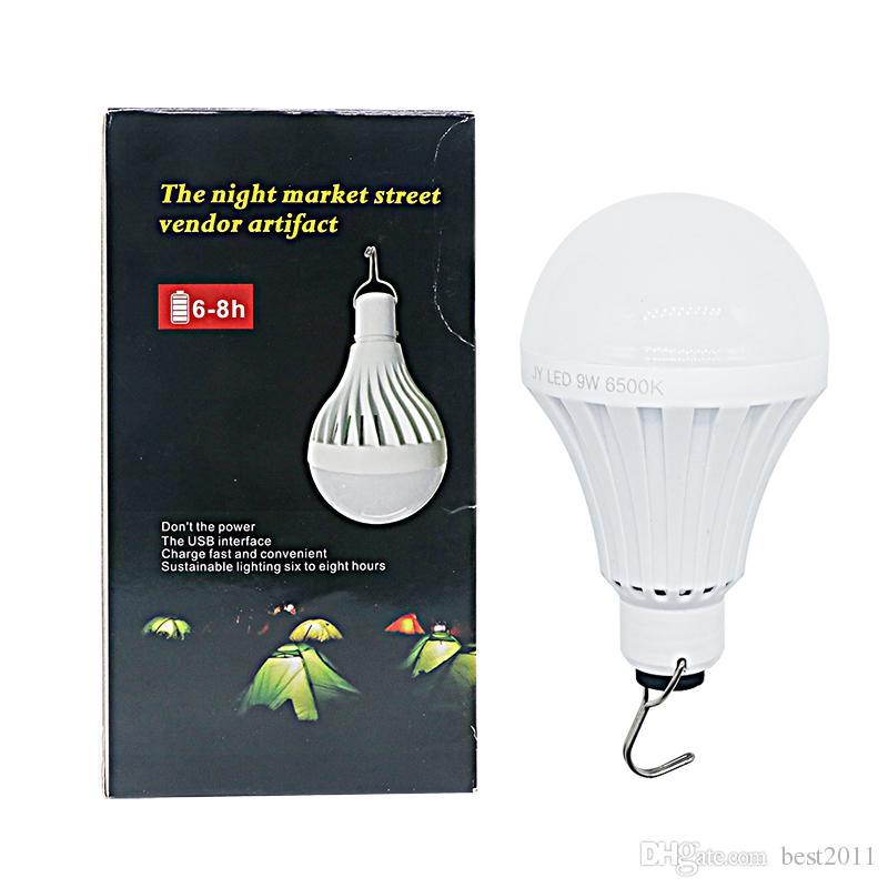 USB 재충전 용 LED 전구 빛 유형 램프 9W DC 5V 똑똑한 비상 사태 Ampoule는 어업을위한 옥외 점화를지도했다