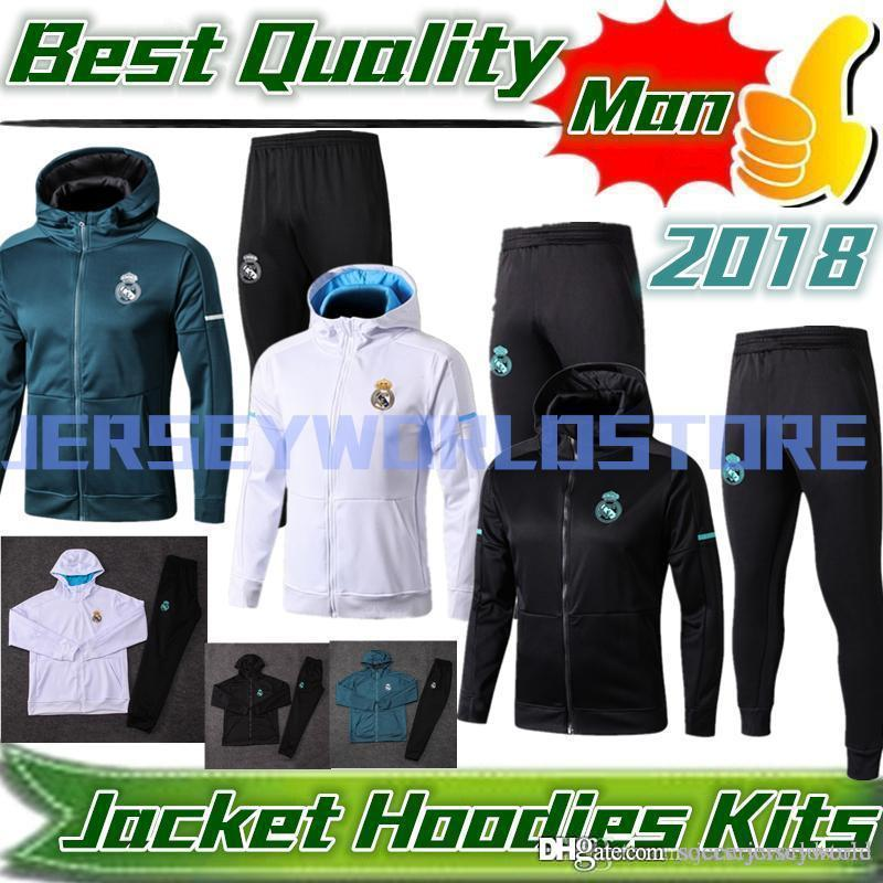 the best attitude b01ae 56c91 2018 REAL MADRID TRAINING HOODIES KITS 18/19 REAL MADRID FOOTBALL TRACKSUIT  CAPS KITS RAMOS VARANE MODRIC BALE CEBALLOS WARM UP SPORTSWEAR