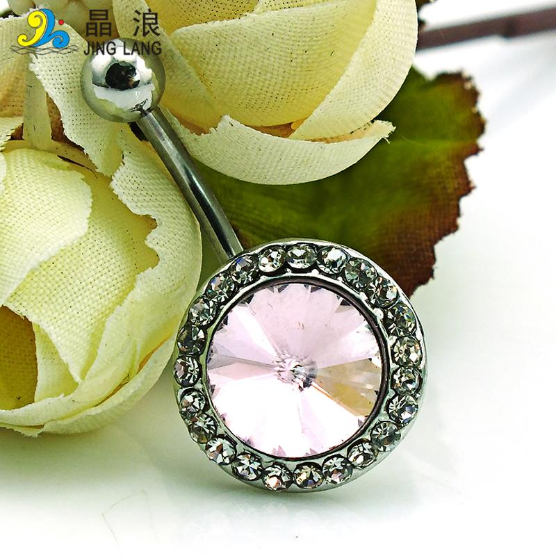 JINGLANG Brand New Fashion Belly Button Rings Stainless Steel Barbells White Rhinestone Round Navel Piercing Jewelry