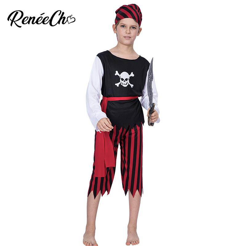 b0bd6278674 2018 Cheap Halloween Costume For Kids Boys Pirate Costume Caribbean Captain  Child Cosplay For Carnival Party 3-12 Years Old