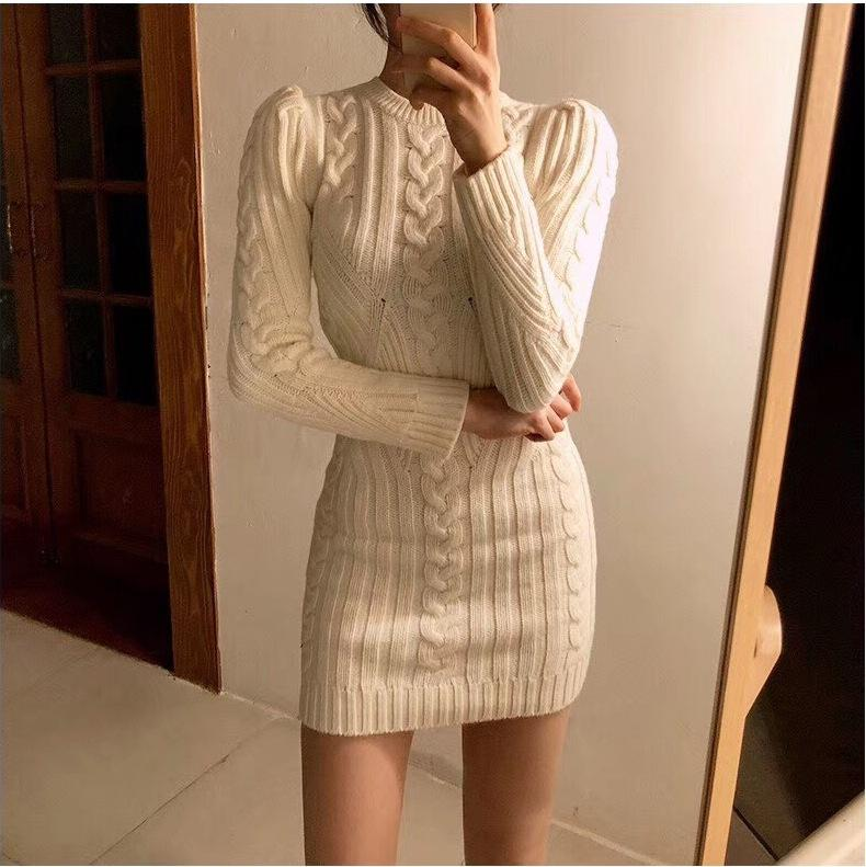 36916fe14a40 2019 Winter New Retro Pattern Ladies Knit Wool Slim Warm Bottoming ...