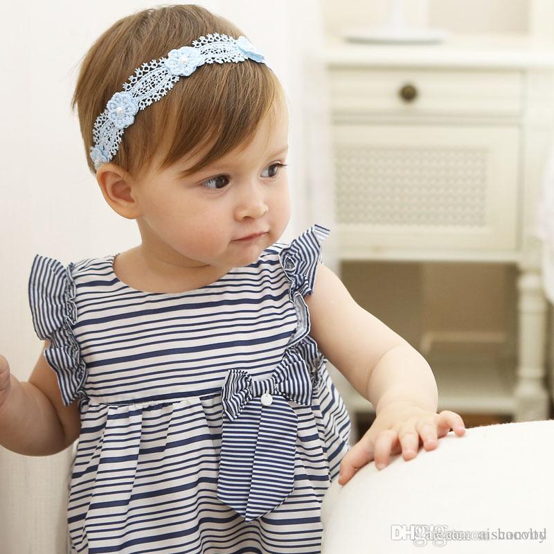 Großhandel Baby Mädchen Spitze Elastische Stirnbänder Blühen Perlen ...