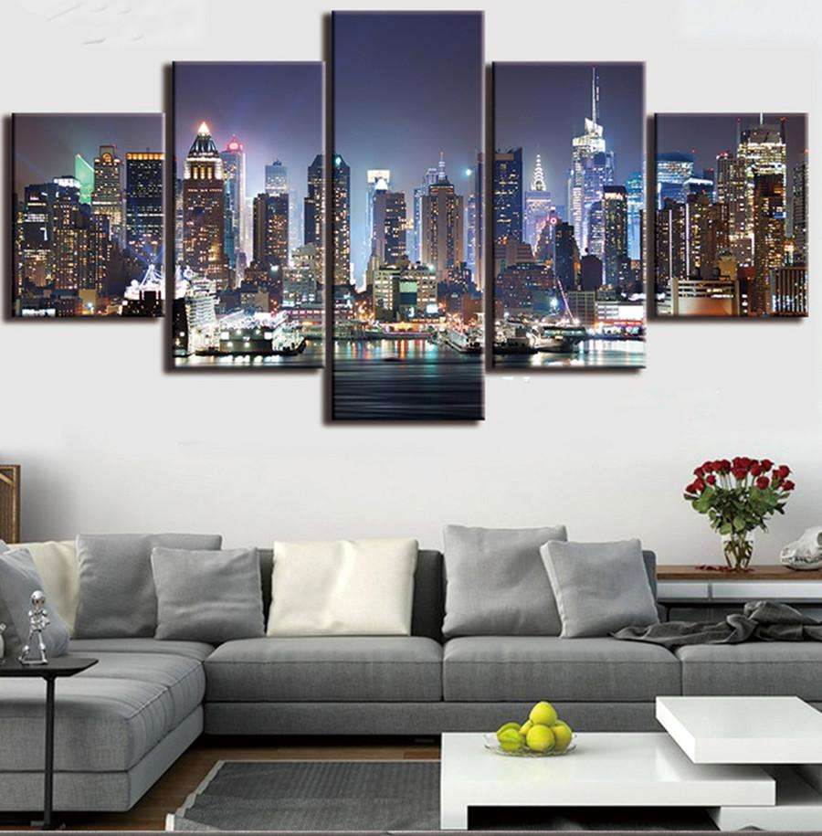 5diy,5 pcs Diamond Painting New York City Night Cross-Stitch,Full,Diamond Embroidery,Mosaic,pattern,beaded embroidery,gift