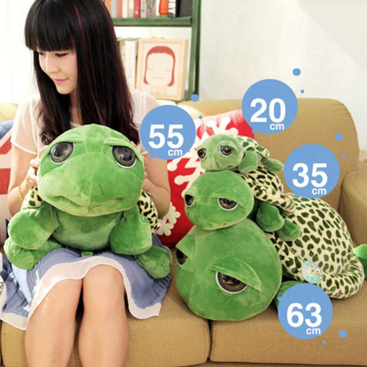 20cm 박제 인형 동물 녹색 큰 눈 거북 아기 아이 인형 거북이 봉제 인형 선물 도매