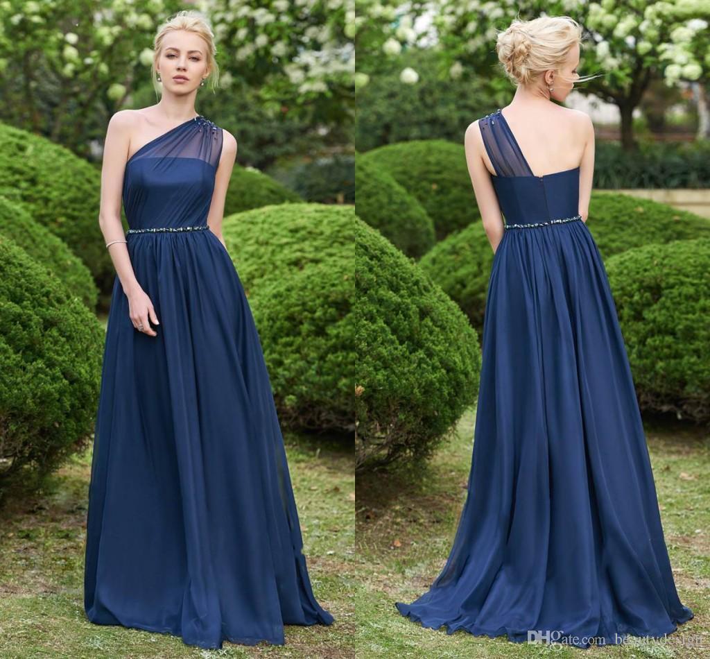 3c70c0f0cb Dark Navy Women Chiffon Bridesmaids Dresses Garden Boho Wedding Guest Party Gowns  A Line Sheer One Shoulder Long Maid Of Honor Wear BM0148 Purple Bridesmaid  ...