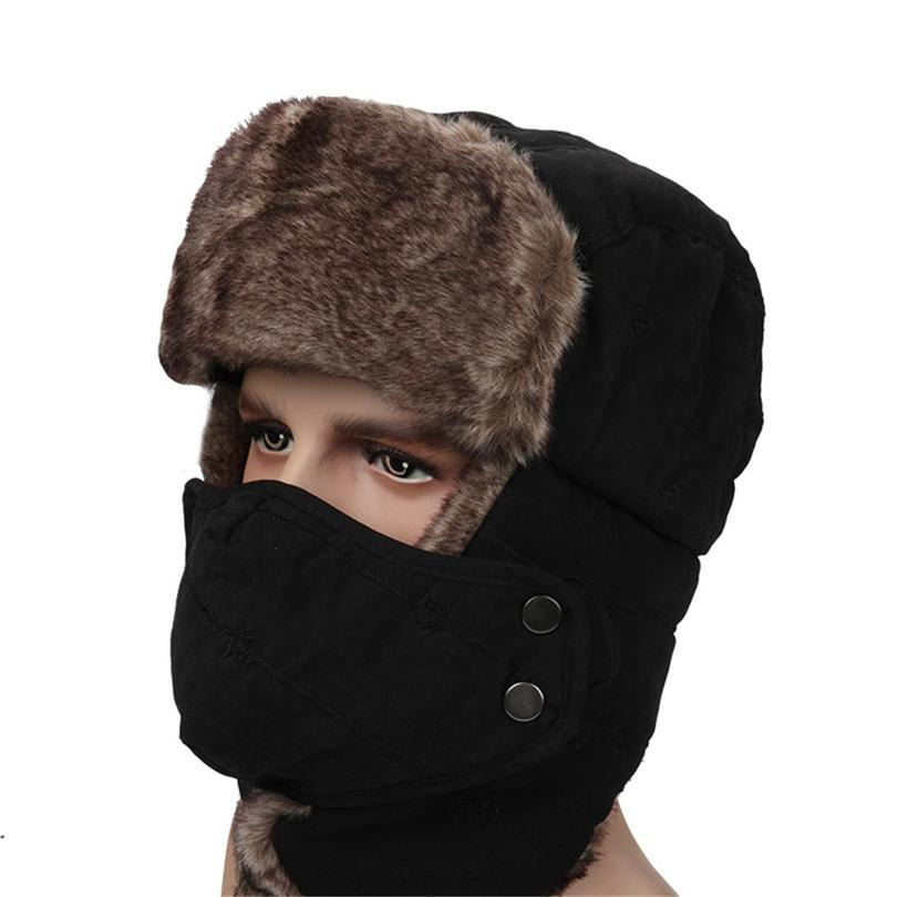 2f38f5c40 Winter Trapper Hat With Ear Flap Chin Strap Faux Fur Windproof Mask Trooper  Hat Skiing Climbing for Men women A30