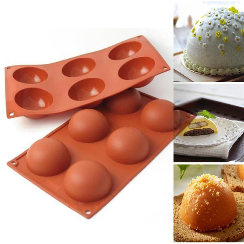 Grosshandel 6 Slot Silikon Halbkugel Form Diy Schokolade Cupcake