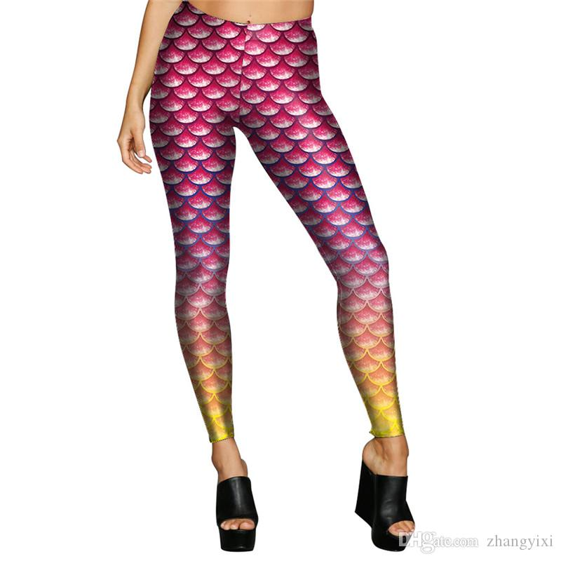 Wholesale Women Mermaid leopard Snake Legins Fashion High Waist 3d Digital Printed Leggings Pencil Pants