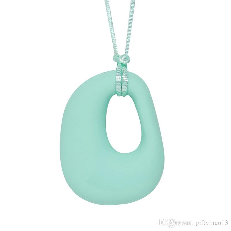 Silicone Teething Necklace D Shape Pendant Baby Teether Charm BPA Free Silicone Chew Pendant Beads Nursing Jewelry Multi Colors