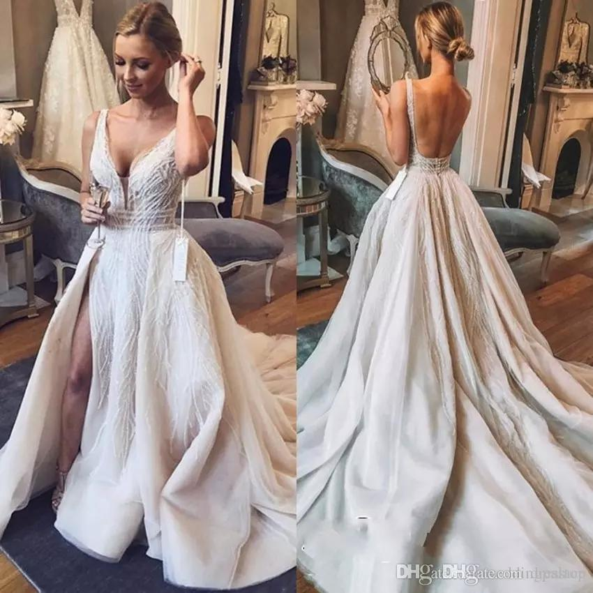 f70d2887379 Discount Chic V Neck Boho Wedding Dresses With Overskirts Sleeveless 2019  Tulle Sequins Bridal Gowns With Slit Backless Luxury Plus Size Wedding Gown  ...