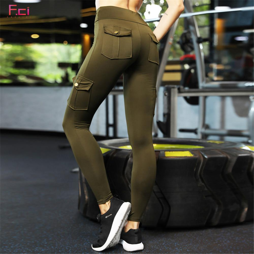 672006cd2573a 2019 FRECICI Women Skinny Cargo Pants Push Up High Waist Both Side Pocket  Leggings Hip Pocket Booty Leggings Workout Sporting Pants From Pileilang,  ...