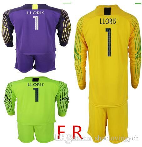 7344c41ee Best Quality 2018 World Cup Goalkeeper Jerseys  1 LLORIS Long Sleeve Goalie  T Shirt Kits GRIEZMANN MBAPPE POGBA Goalkeeper Jerseys LLORIS MBAPPE Online  with ...