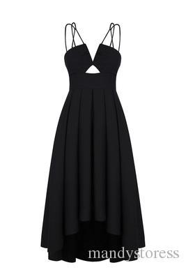 Wholesale- New 2018 Women Black Plunge V-neck Wrap Front Cut Out Irregular Hem Maxi Dress Fashion Backless Cami Dress Vestidos