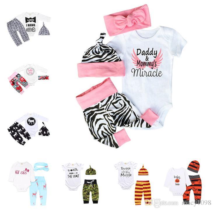 c8d87a2753a Newborn Little Baby Suit Hat hairband+romper+pantsboys Girls Kids ...