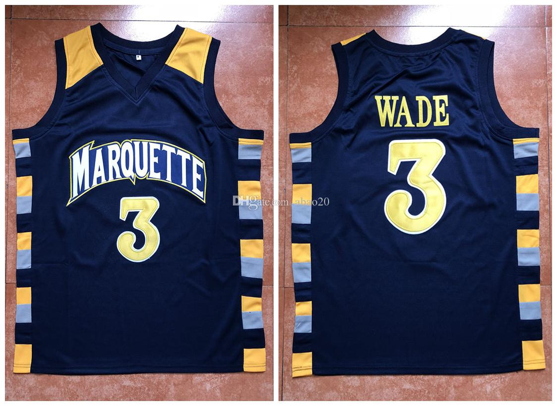 55f59386455 Dwayne Wade #3 Basketball Jersey Men's Marquette Golden Eagles College  Embroidery Stitched Custom any Number Name Jerseys