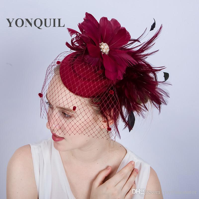 a9a120634f523 18Colors available feather flower headband hair clips elegant women veil  wedding wool fascinator hat hair accessories red bridal hats SYF154