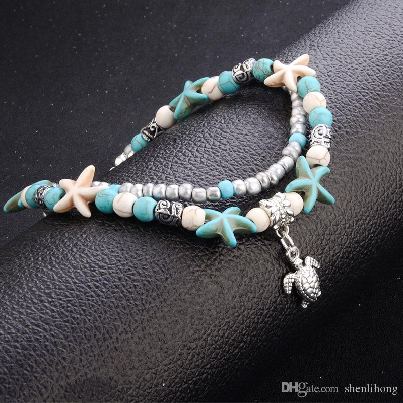 double layer anklet charms with sea snail starfish sea turtble turquoise ccb beads anklet anklet cheap handmade accessory