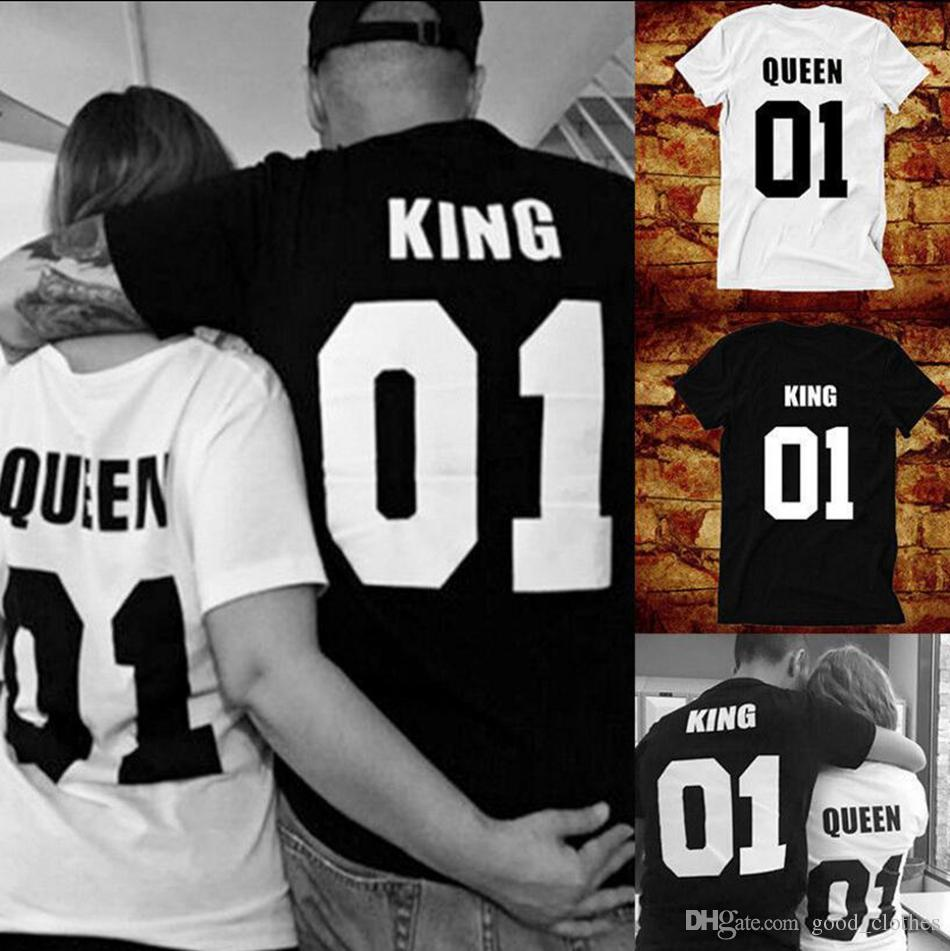 b8f77ab421 Couple T Shirt King 01 Queen 01 Love Matching Shirts Cute Couple Street  Punk Tee Tops LJJO4476 Trendy T Shirts For Men Shirts Funny From  Good_clothes, ...