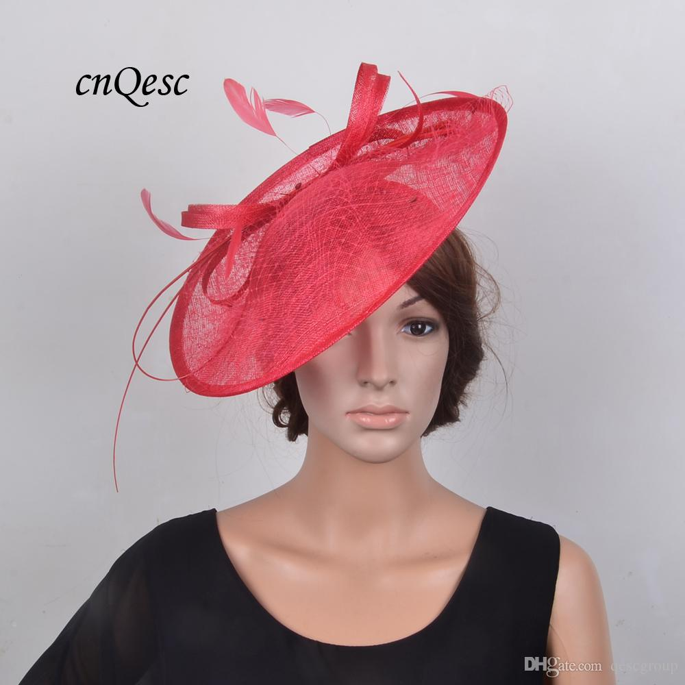 025cf0937185c 2018 NEW RED Large Saucer Fascinator Sinamay Hat Hatinator Fedora Wedding  Headpiece With Feather And Veiling For Kentucky Derby