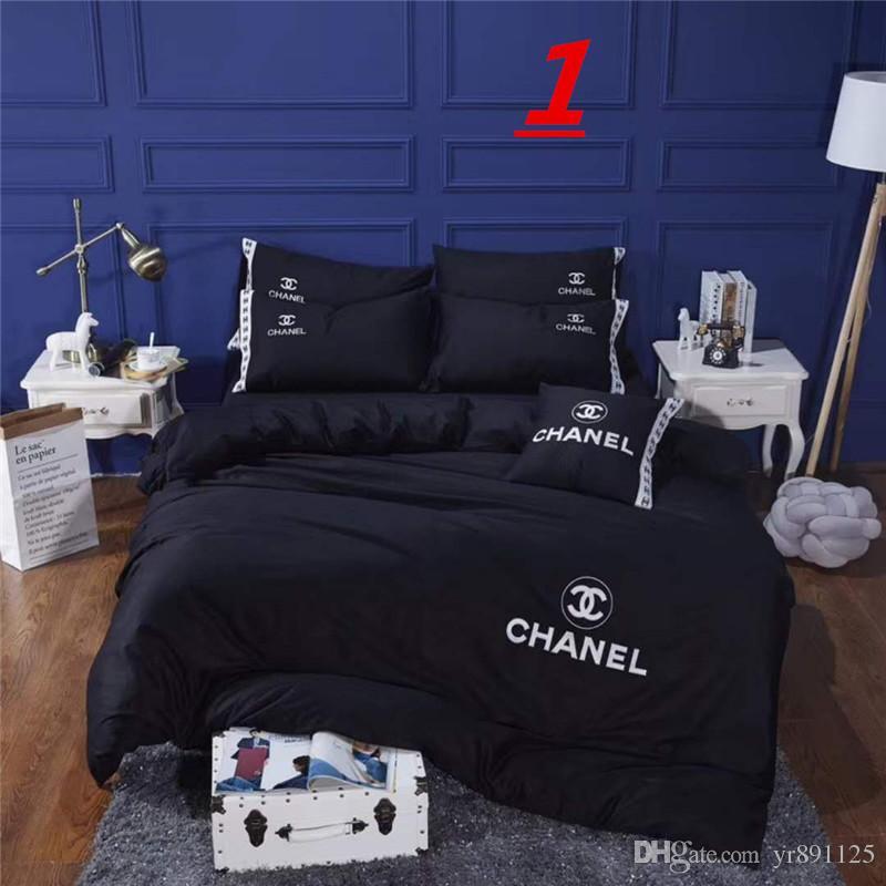 Copripiumino Chanel.Acquista 4 Pezzi 100 Cotone Damasco Tuta A Quattro Pezzi Di Lusso