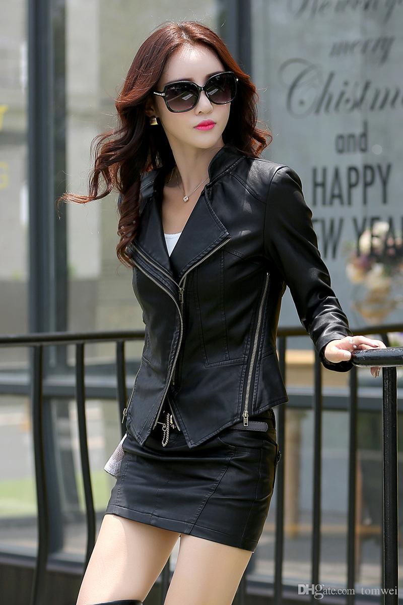Slim Fit Leather Jackets Biker Coat Womens Clothing Zipper Big Size S-XXXL Green Black High Quality