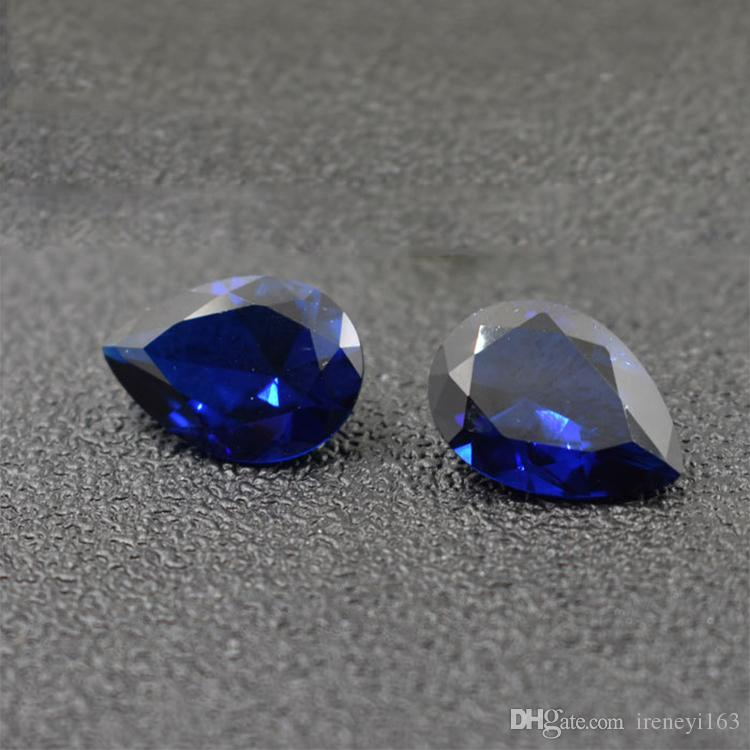 Good Quality 3A Grad Blue Corundum CZ Pear Cut Cubic Zirconia Synthetic Loose Gemstone For Jewelry Making Factory Direct