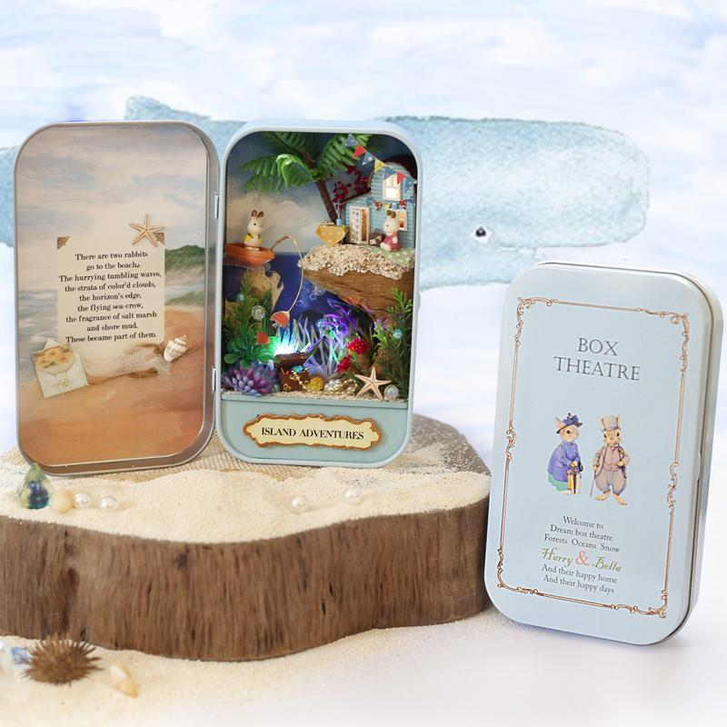 Mini Box Theatre Diy Doll House Toy Natural Theme Miniature Scenes