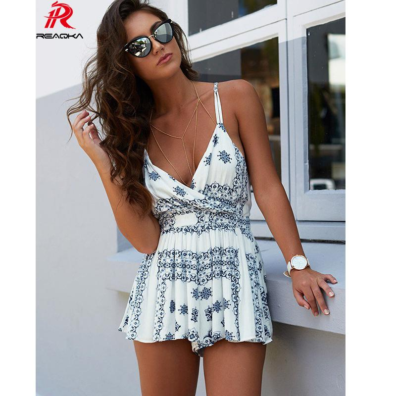6cda7e23cc 2019 Reaqka Sexy Rompers Womens Jumpsuit Summer Bodycon Print Playsuits  Shorts Jumpsuit Overal Women Casual Clubwear Backless Beach From Rykeri