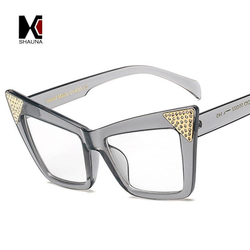 e5044c8981a SHUANA Crystal Decoration Ladies Cateye Women Sunglasses Fashion ...