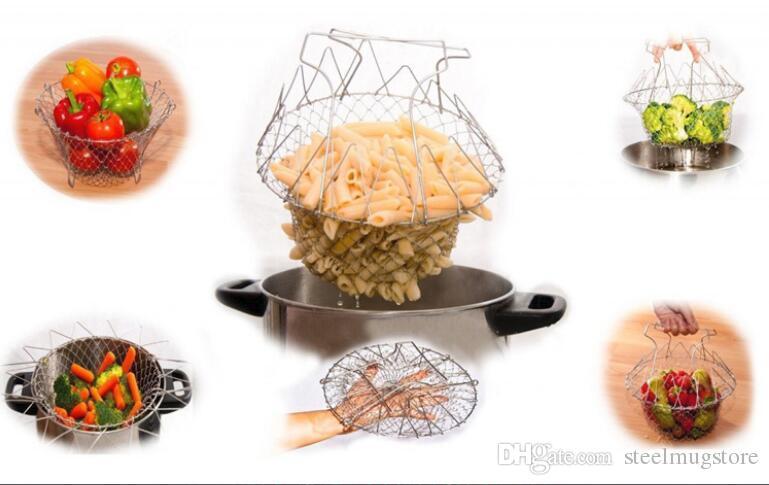Colador Plegable Cesta De Malla Colador De Enjuague De Vapor Filtro De Acero Inoxidable Tamiz De Cocina Freír Verduras Hervidas Francés Utensilios De Cocina Herramientas
