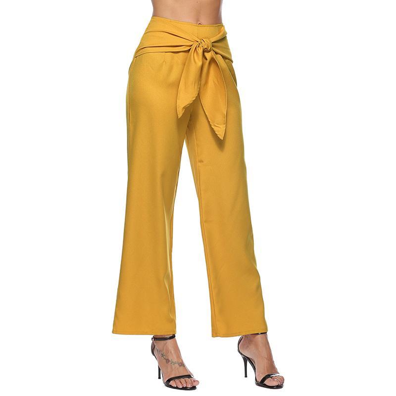 341c6f5f170c05 Women's wide leg pants bow ties high waits yellow black loose trousers 2019  Summer Spring OL Pants WS9237Y