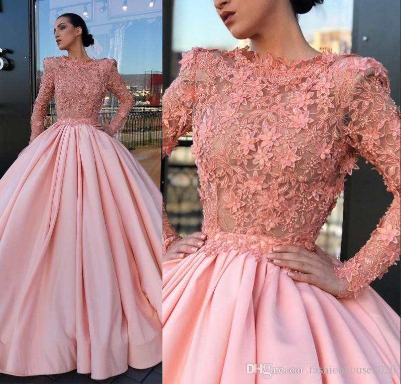 dcc86862 2018 Ball Gown Satin Prom Dresses Pink Jewel Long Sleeve Sheer Pleat 3D  Flower Lace Applique Floor Length Celebrity Party Evening Gowns Wear Dark  Blue Prom ...