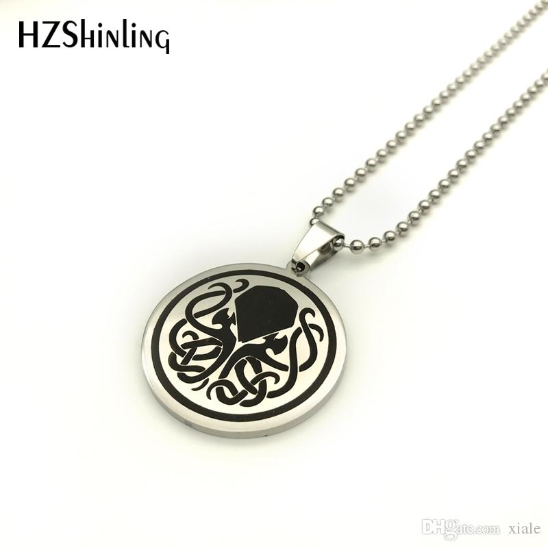 2018 New Stainless Steel Cthulhu Symbol Pendant Necklace Cthulhu Jewelry Steampunk Pendants Silver Ball Chain Gifts Men SS-0014