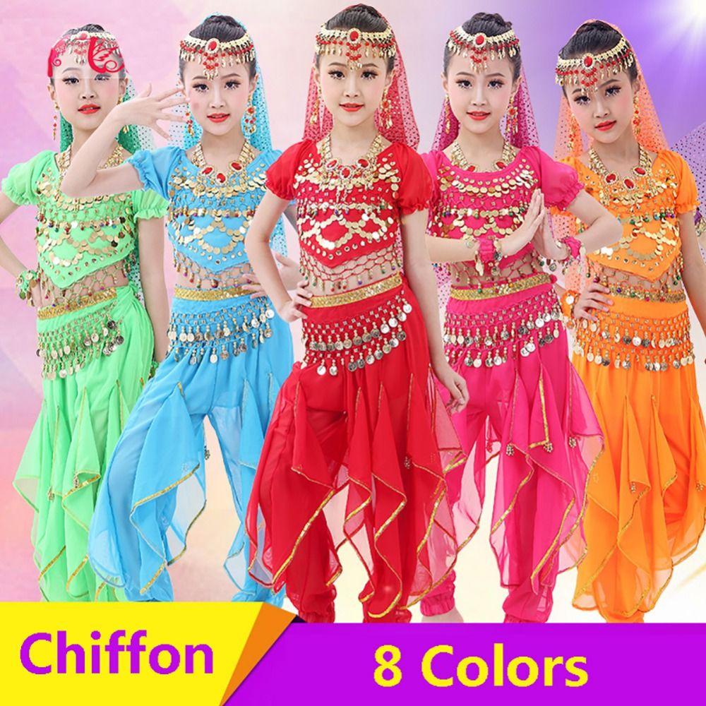 a172b030c04b 2019 2018 Girl Children Belly Dance Costumes Chiffon 120D Sequin ...