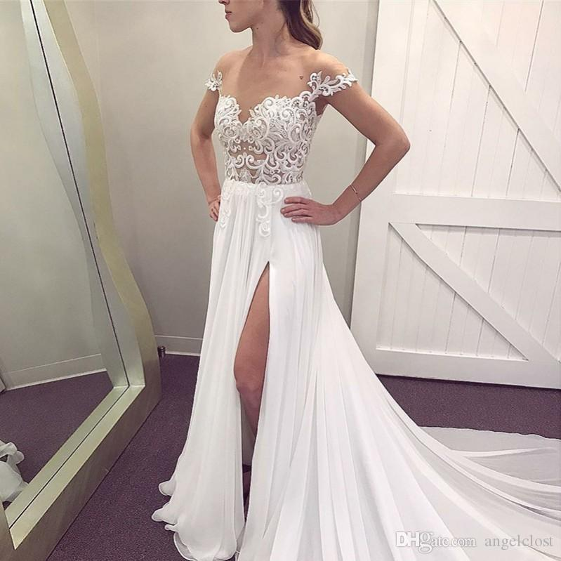Charming Thigh-High Slits Beach Wedding Dresses For Bride 2018 Sheer Neck Cap Sleeve Appliques Lace Sweep Train Boho Country Bridal Gowns