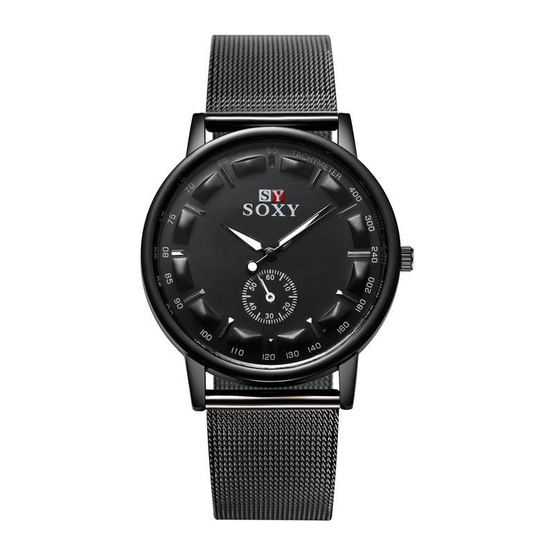2017 New Hot Sell Brand Soxy Black Mesh Belt Wrist Watch Simple Style Men Quartz  Watches Fashion Design Male Watch Montre Homme Buy Clothes Online Ingersoll  ... 08e51a282a4