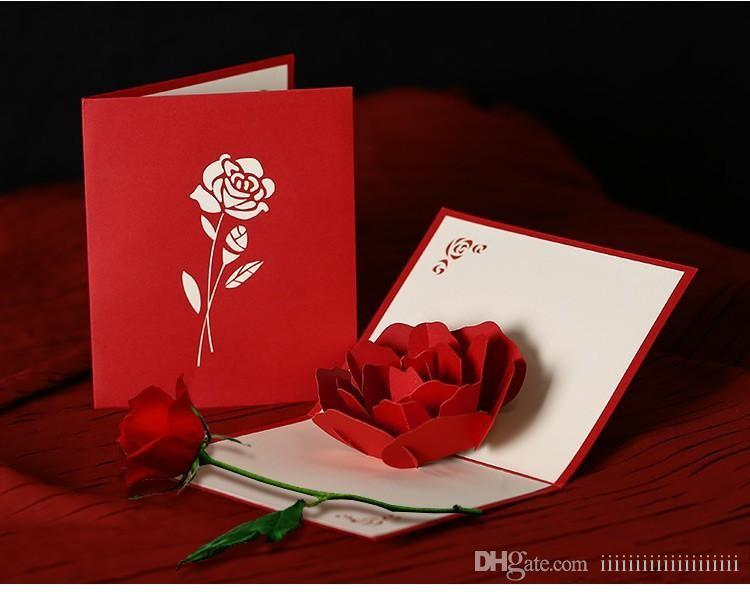 Ywbeyond Rose 3D Pop Up Greeting Card Stereoscopic ValentineS Day Gift Couple Peony Cherry Birthday Wedding Invitation Custom Cards